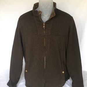 Lands End Full Zip Sweater, Brown, Size L (42-44)